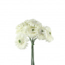 wholesale Artificial Flowers: Gerbera Bundle Glorian x12, H20cm, cream / white